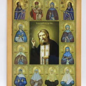 Икона Серафима Саровского Чудотворца с Дивеевскими Святыми