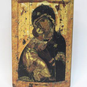 Икона из дерева Божией Матери с Иисусом, на холсте.