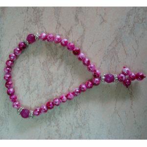 Четки (30 делений) натуральный камень-розовый