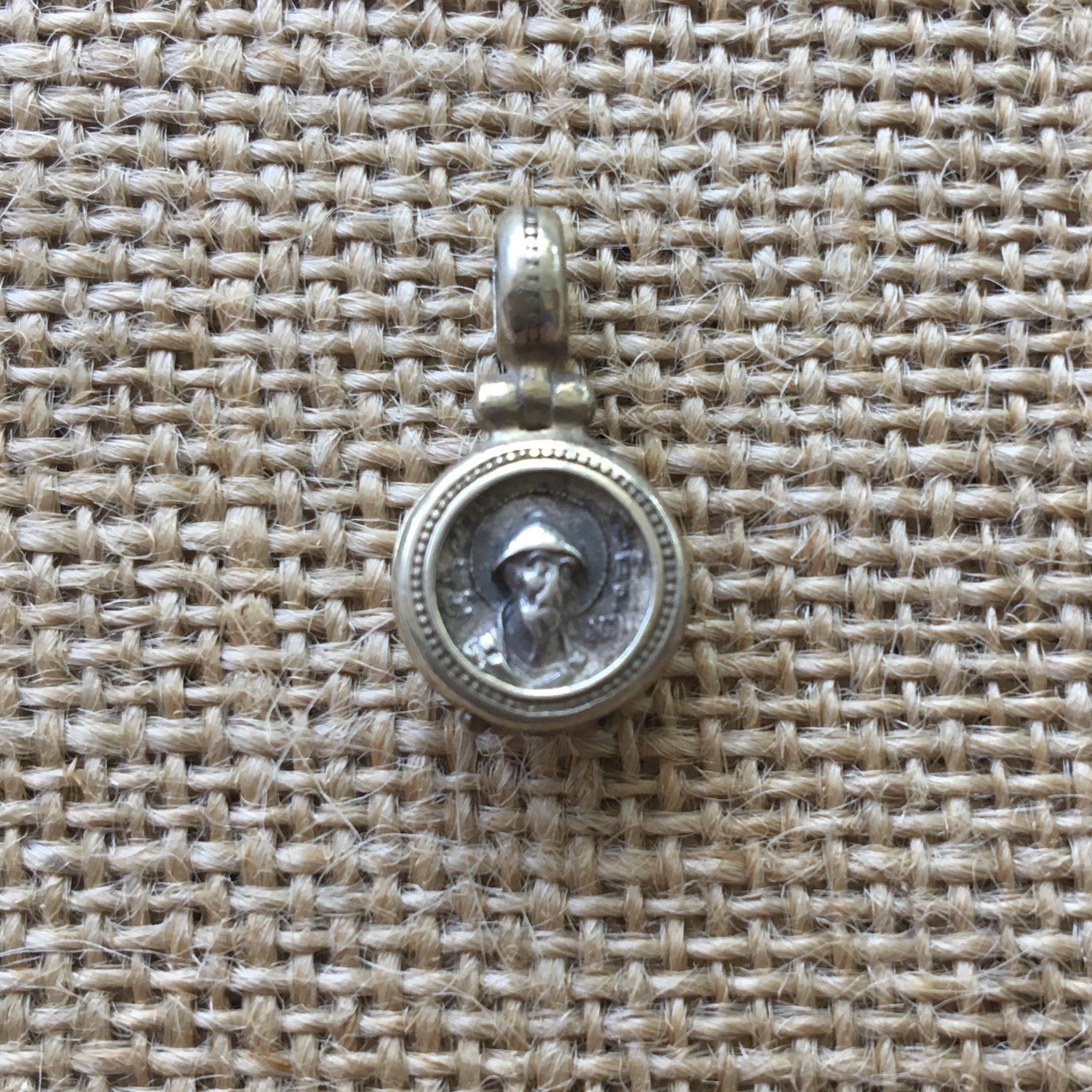 Серебряный кулон Спиридон Тримифунтский с кусочком башмачка