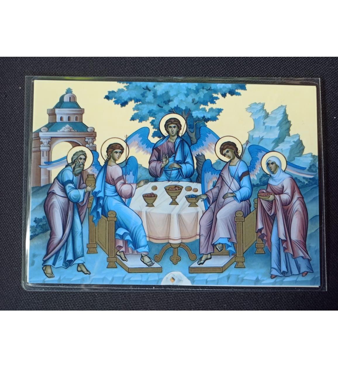 Икона Явления Святой Троицы с частицей Мамврийского Дуба со Святой Земли из Свято-Троицкого монастыря святых праотец Авраама и Сарры в Хевроне