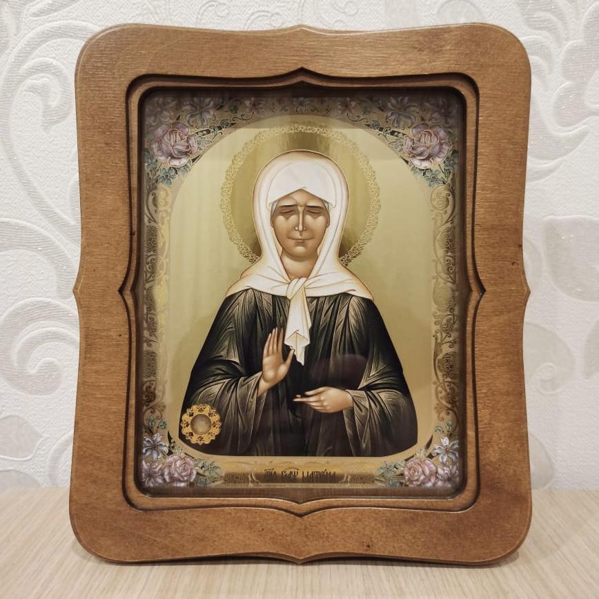 Икона святой блаженной Матроны Московской с песочком с ее могилы (22.5 на 26.5 см)