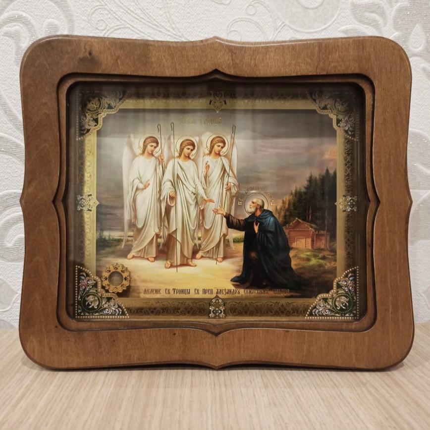 Икона Явление Святой Троицы прп. Александру Свирскому с песочком с места этого события (22.5 на 26.5 см)