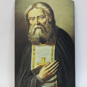 Икона из дерева с ликом Преп. Серафима Саровского на холсте