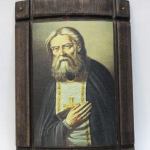 Икона из дерева с ликом Преп.Серафима Саровского на холсте