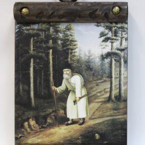 Икона из дерева на холсте. Батюшка Серафим с топором