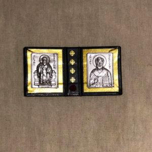 Складень с иконами Спиридона Тримифунтского и Николая Чудотворца (с частицей башмачка)