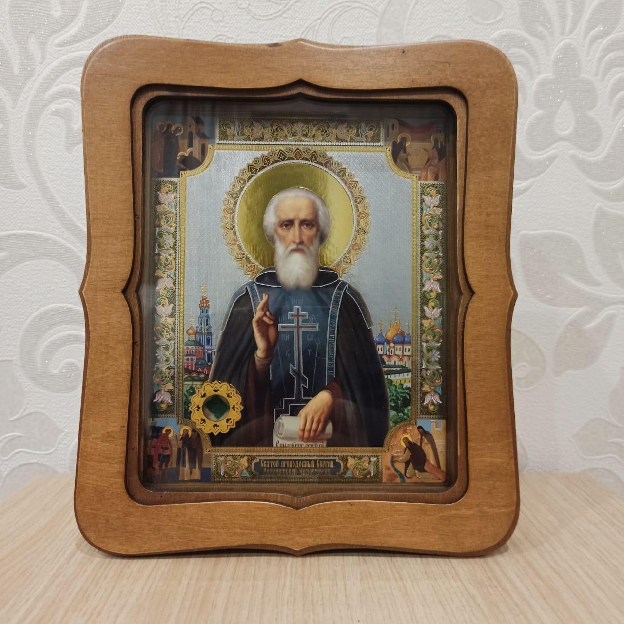 Икона прп. Сергия Радонежского с частицей облачения с его мощей (22.5 на 26.5 см)