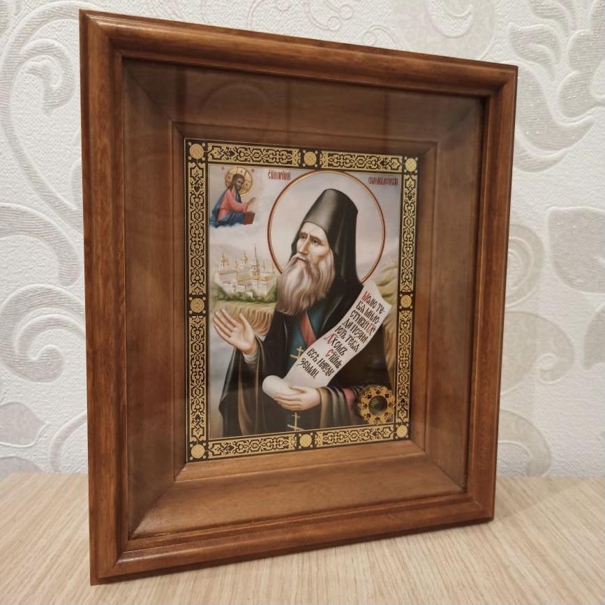 Икона преп. Силуана Афонского с частицей покровца от его мощей (22.5 на 26.5 см)