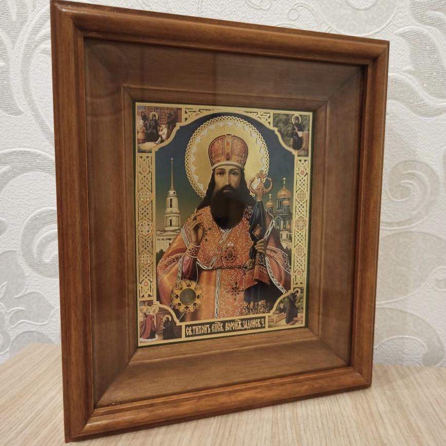 Икона свт. Тихона Задонского с частицей его гроба (22.5 на 26.5 см)