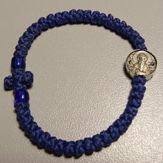 Комбоскини с ликом Св. Спиридона изготовленные по благословению святой горы Афон (синие)