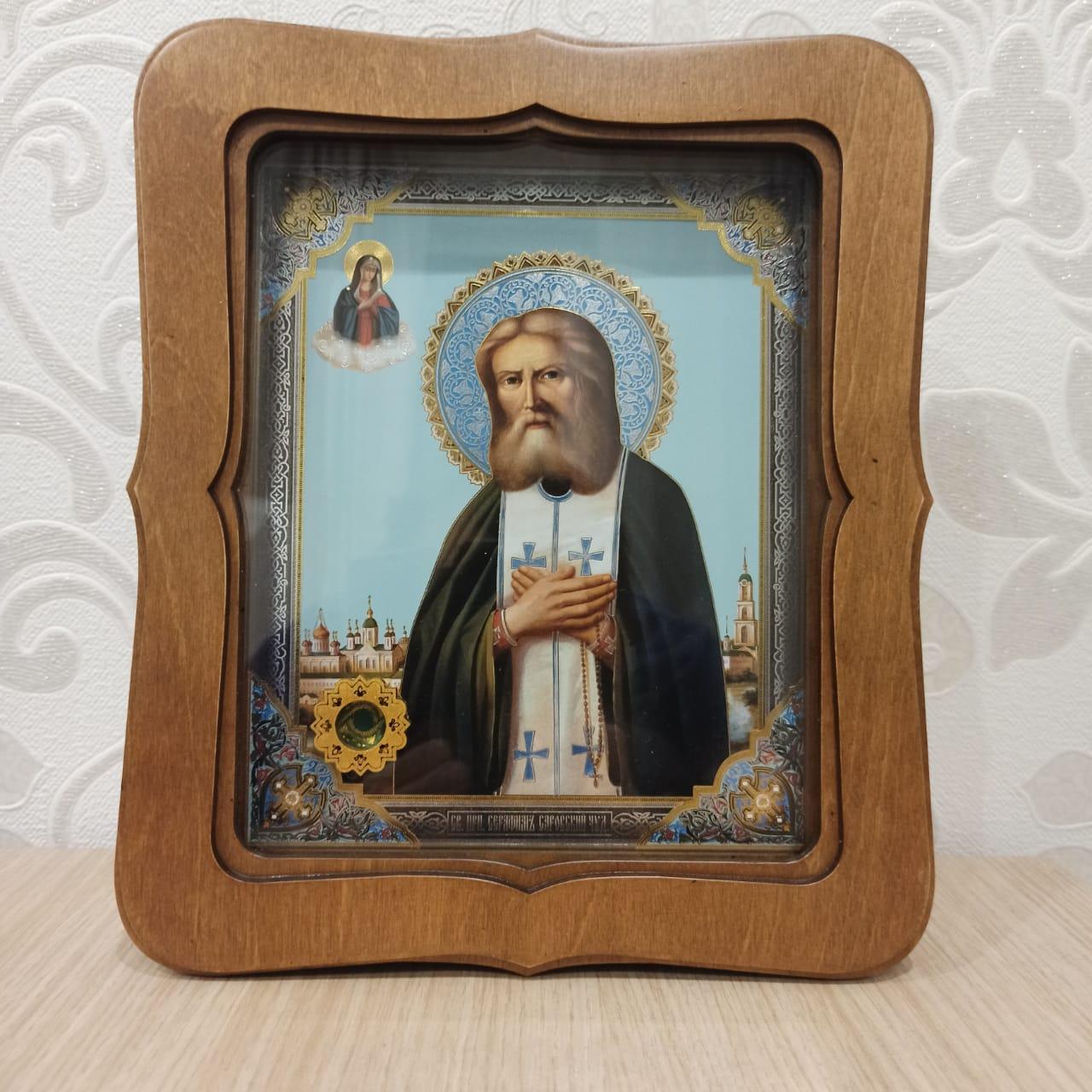 Икона прп. Серафима Саровского с частицей покровца от его мощей (22.5 на 26.5 см)