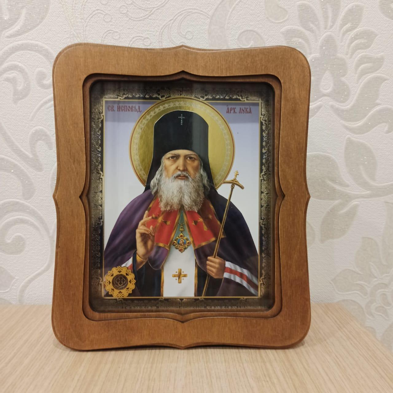 Икона святителя Луки (Войно-Ясенецкого) с частицей покровца от его мощей (22.5 на 26.5 см)